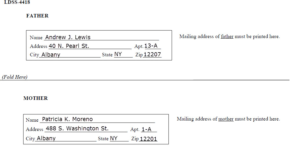 Parents' addresses on back of form